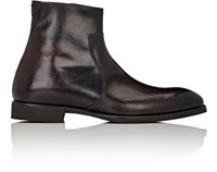 Di Bianco Men's Side Zip Ankle Boots Dark Brown