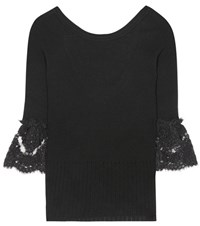 Oscar De La Renta Lace Trimmed Knitted Wool Sweater Black