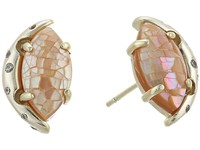 Kendra Scott Marie Stud Earrings Gold Crackle Brown Mother Of Pearl White Cz Earring