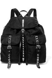 Prada Studded Leather Trimmed Shell Backpack Black
