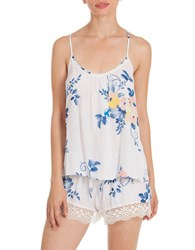 In Bloom Two Piece Floral Print Camisole And Shorts Ivory Blue