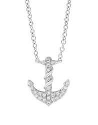 Effy Final Call Diamond And 14K White Gold Anchor Pendant Necklace