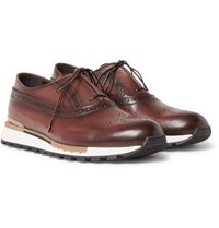 Berluti Polished Leather Sneakers Brown