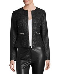 French Connection Medina Stitch Faux Leather Jacket Black
