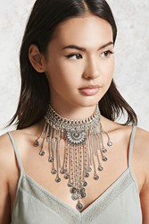 Forever 21 Etched Layered Choker Silver