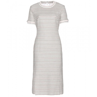 Thom Browne Tweed Dress Light Grey Graphic With Red White Blue