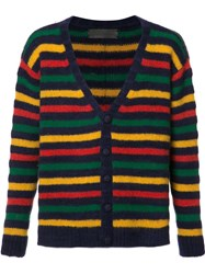 The Elder Statesman Striped V Neck Cardigan