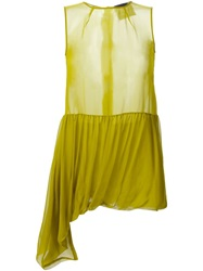 Erika Cavallini Semi Couture Sheer Draped Blouse Green