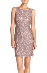 Adrianna Papell Women's Boatneck Lace Sheath Dress Cappuccino Ivory