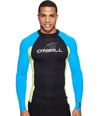 O'neill Skins L S Crew Black Lime Brite Blue Men's Swimwear