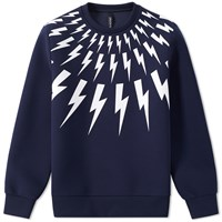 Neil Barrett Fair Isle Bolt Print Sweat Blue