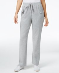 Karen Scott Petite French Terry Pull On Pants Only At Macy's Smoke Grey