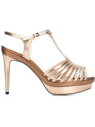 Fendi T Bar Platform Sandals Nude And Neutrals