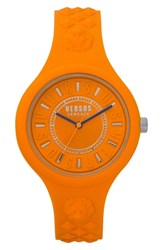 Versus By Versace Fire Island Silicone Strap Watch 39Mm Orange Grey