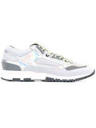 Lanvin Metallic Patchwork Running Sneakers Grey