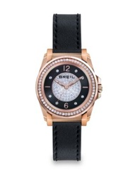 Breil Milano Manta Crystal Rose Goldtone Ip Stainless Steel And Leather Strap Watch Rose Gold Black