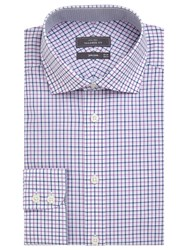 John Lewis Non Iron Cotton Tailored Fit Check Shirt Blue Pink