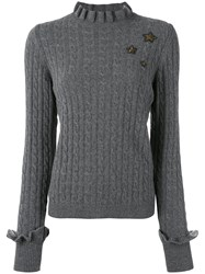 Red Valentino Cable Knit Slim Fit Jumper Women Polyamide Viscose Angora Metallic Fibre L Grey