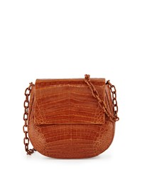 Nancy Gonzalez Crocodile Chain Strap Saddle Bag Cognac Red
