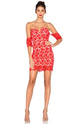 J.O.A. Off The Shoulder Lace Dress Red