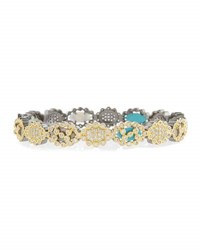 Freida Rothman Cutout Mixed Stone Hinged Bangle Bracelet Gold