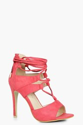 Boohoo Ghillie Lace Up Heels Coral