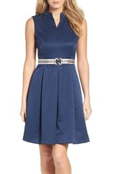 Ellen Tracy Women's Belted Fit And Flare Dress Navy