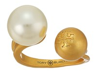 Tory Burch Hammered Metal And Pearl Floating Ring Ivory Vintage Gold