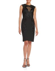 Sue Wong Embroidered Sheath Dress Black