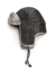 Crown Caps Vintage Leather Aviator Hat Black Grey