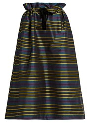 Isa Arfen Drawstring Waist Striped Taffeta Skirt Multi