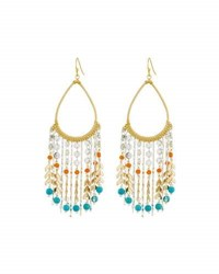 Nakamol Golden Teardrop Beaded Fringe Earrings Multi
