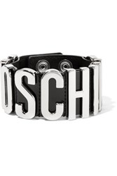Moschino Patent Leather And Silver Tone Bracelet Black