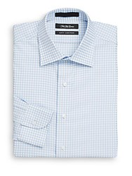 Saks Fifth Avenue Slim Fit Checkered Dress Shirt Light Blue