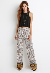 Forever 21 Floral Elephant Print Palazzo Pants Mustard Blue