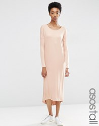 Asos Tall Slouch Oversize T Shirt Dress In Baby Rib Pink