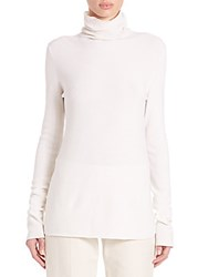 The Row Tember Silk And Cotton Knit Turtleneck Top Chalk