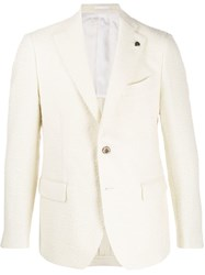 Gabriele Pasini Single Breasted Tweed Blazer White