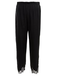Icons Buttercup Lace Trimmed Silk Pyjama Trousers Black