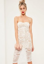 Missguided White Lace Bandeau Midi Dress