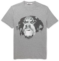 Givenchy Slim Fit Embroidered Rottweiler Cotton T Shirt Gray
