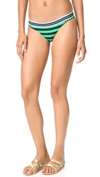 Stella Mccartney Stripe Classic Bikini Bottoms Calypso Green Navy Stripe