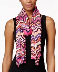 Inc International Concepts Waveburst Print Pashmina Wrap Only At Macy's Coral