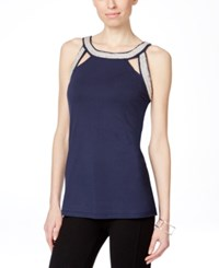 Inc International Concepts Embroidered Cutout Scoop Neck Top Only At Macy's Deep Twilight