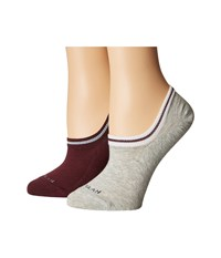 Cole Haan 2 Pair Sport Cuff Liner Oxford Heather Malbec Women's Crew Cut Socks Shoes Brown