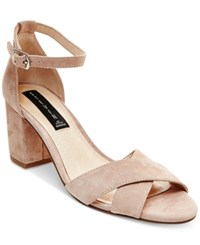 Steven By Steve Madden Voomme Ankle Strap Block Heel Dress Sandals Women's Shoes Pink Suede