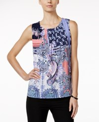 Charter Club Printed Ruched Tank Top Only At Macy's Intrepid Blue