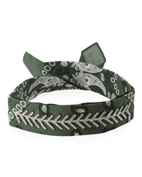 Fallon Monarch Crystal Trimmed Bandana Choker Green