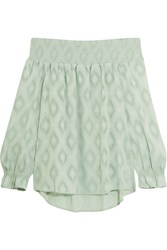 Rebecca Minkoff Atmosphere Off The Shoulder Embroidered Crepe Top Green