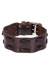 John Varvatos Wide Leather Detail Cuff Bracelet Brown
